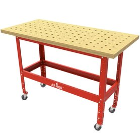 """Table Kit Euro - Hard Maple Butcher Block Dog Hole Table (54""""x25""""x1.5"""") with Steel Stand and 3"""" Casters European"""