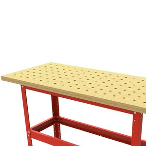 """Table Kit - Hard Maple Butcher Block Dog Hole Table (54""""x25""""x1.5"""") with Steel Stand and 3"""" Leveling Feet Imperial"""
