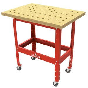 """Table Kit - Hard Maple Butcher Block Dog Hole Table (36""""x25""""x1.5"""") with Steel Stand and 3"""" Casters Imperial"""
